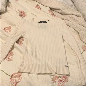 Superdry Sweaters - White chasmere sweater